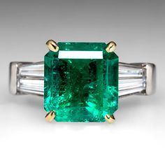 Emerald Engagement Ring w/ Tapered Baguette Diamonds in Platinum