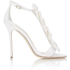 Olgana La Delicate T-Strap Sandals (300 BHD) ❤ liked on Polyvore featuring shoes, sandals, white, high heel shoes, bow t strap sandals, ankle strap sandals, high heel sandals and open toe sandals