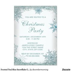 Frosted Teal Blue Snowflake Christmas Party 4.5x6.25 Paper Invitation Card