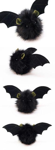 Fang the Black and Green Stuffed Plushie Bat