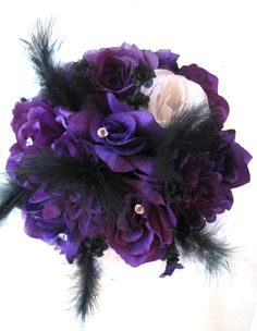 wedding gothic bride tdrop bouquet black purple silver bride bouquets wedding bride and wedding