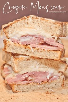 Take the classic ham and cheese sandwich to the next level with this Croque Monsieur Sandwich recipe! #sandwich #croquemonsieur #recipe #easy Brunch Recipes, Snack Recipes, Breakfast Recipes, Savory Breakfast, Healthy Recipes, Snacks, Pork Recipes, Delicious Recipes, Dinner Recipes