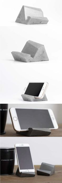 Concrete Mobile Phone Stand Holder - Phone Stand - Ideas of Phone Stand - Concrete Mobile Phone Stand Holder