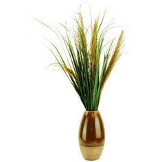 36 inch Artificial Pampas Grass in a Ceramic Vase, Multicolor