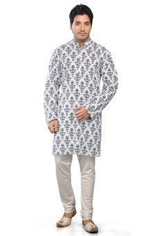 WHITE AND GREY COTTON READYMADE KURTA WITH CHURIDAR