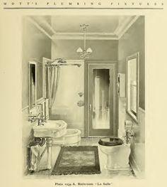 """La Salle"" bathroom suite from 1907 Mott's Iron Works Plumbing Fixtures catalog from 1907. Notice--no bathtub, just a shower in the corner."