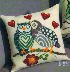 This pair of sweetheart owls! Counted cross-stitch kit includes aida fabric, pre-sorted cotton floss, needle, and instructions. Cross Stitch Owl, Cross Stitch Pillow, Cross Stitch Animals, Counted Cross Stitch Kits, Cross Stitching, Cross Stitch Embroidery, Cross Stitch Patterns, Needlework, Pillows