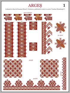 Semne Cusute: din MUNTENIA Folk Embroidery, Learn Embroidery, Cross Stitch Embroidery, Embroidery Patterns, Machine Embroidery, Beading Patterns, Cross Stitch Patterns, Antique Quilts, Textile Patterns