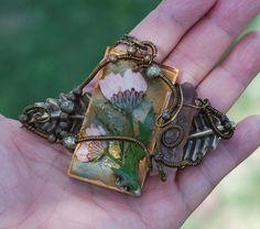 Real Pink Flower Resin Red Quartz Brass Leaf Wire Wrap Art Nostalgia Necklace #Jeanninehandmade #Pendant