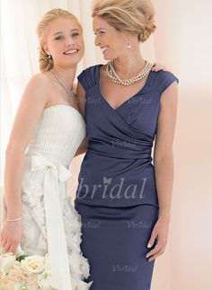 Sheath/Column V-neck Knee-Length Satin Mother of the Bride Dress With Ruffle (00805007796) - Vbridal