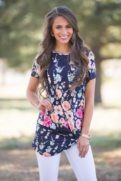 This Unforgettable Love Floral Blouse Navy - The Pink Lily