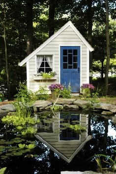 Small Sheds | Small garden pond with shed, love the blue door and ... | house ideas