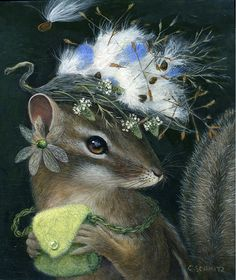 Wild Hats - Mountain and Desert Critters with Hats of Native Plants Illustrations, Illustration Art, Woodland Creatures, Fairytale Creatures, Whimsical Art, Pics Art, Surreal Art, Native Plants, Animal Paintings
