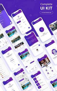 Complete iOS UI Kit for hotel booking app which include 20 screens. Mobile App Design, Web Mobile, Mobile App Ui, Interface Design, Interface Web, App Ui Design, Design Design, Flat Design, Design Trends