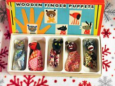 Antique (5) Wooden Finger Puppets by TOIA Czechoslovakia