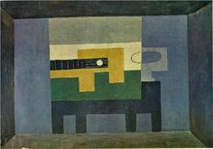 Guitar and jug on a table - Pablo Picasso