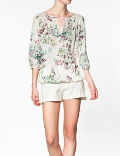Green Ink Floral Print V-neck Half Sleeve Chiffon Blouse