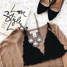 Sparkling Marble Statement Necklace #bralette #flatlay #fashionista -  28,90 € @happinessboutique.com