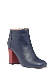 170f639f5699 Square toe half boot in lambskin