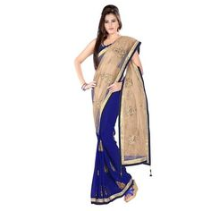 Mahi Fashion ~ Products ~ New Designer Blue and Peach Half Half Party Wear Net Saree with Blouse ~ Shopify