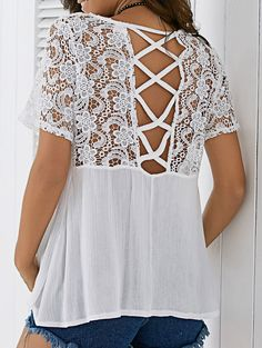 Back Criss Cross Lace Blouse