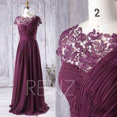 2016 Plum Bridesmaid Dress Long, One Shoulder Chiffon Wedding Dress, Asymmetric Lace Neck Prom Dress, Cap Sleeves Formal Dress (J015) by RenzRags on Etsy https://www.etsy.com/uk/listing/386282540/2016-plum-bridesmaid-dress-long-one