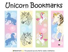 Free printable unicorn bookmarks. Download the PDF template at http://bookmarkbee.com/bookmark/unicorn/