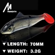 Meredith LURE JX03-07 Retail HOT SELLER  200pcs  70MM 3.2G fishing fish soft lure  soft bait