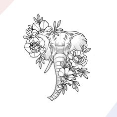 """200 Photos of Female Tattoos on the Arm to Get Inspired - Photos and Tattoos - Flower Tattoo Designs - """"Große Versprechen"""" -Design von Nathaly Bonilla - Model Tattoos, Body Art Tattoos, Tattoo Drawings, Sleeve Tattoos, Elephant Tattoo Design, Elephant Tattoos, Animal Tattoos, Elephant Drawings, Elephant Sketch"""