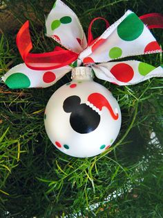 Mickey Mouse with Santa Hat Ornament - Personalized Disney Christmas Ornament - Mickey Mouse Ears - Hand Painted Glass Ball - Santa Mickey by BrushStrokeOrnaments on Etsy Mickey Mouse Ornaments, Mickey Mouse Christmas, Christmas Art, Christmas Projects, Disney Diy, Disney Crafts, Disney Christmas Decorations, Thanksgiving Decorations, Painted Ornaments