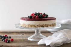 This raw cheesecake with a berry topping and vanilla bean center is gluten-free, dairy-free, vegan, paleo...and one of my favorite holiday desserts.