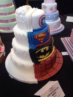 his and hers wedding cake - superhero theme