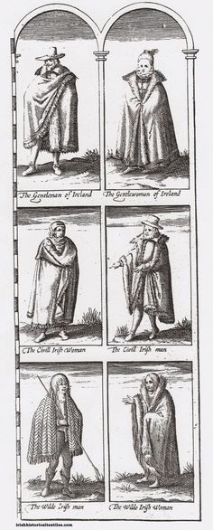 "Three kinds of early seventeenth-century Irish people are dressed here – Gentle, Civill (non-military middle class), and Wilde.  The Wilde woman was described in Speed's own words in his Theatre comments: ""[they wear] shagge rugge mantles purfled [lined and bordered] with a deep Fringe of diuers colours…"" #irish #ireland #textile #history #maps"
