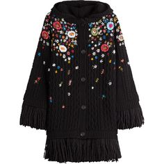 R.E.D. Valentino Embroidered Virgin Wool Cardigan ($701) ❤ liked on Polyvore featuring tops, cardigans, outerwear, black, fringe top, red valentino, fringe cardigan, cardigan top and colorful tops
