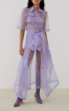 Tuscan Double-Breasted Sheer Trench Coat by Nanushka Look Fashion, Runway Fashion, High Fashion, Fashion Outfits, Womens Fashion, Fashion Trends, Trending Fashion, Haute Couture Style, Fashion Designer