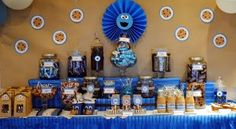 Cookie Monster twist on cookies + milk party theme