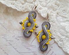 "Grey-yellow Soutache Earrings - Dangle Earrings - Handmade Earrings - Christmas gift for her - ""fifty shades of grey"" - Fashion Earrings"