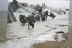 A June photograph shows British Army Royal Marine Commandos landing on Juno Beach at Saint Aubin sur Mer, France, over an image taken at the same location on May Battle Of Normandy, D Day Normandy, Normandy Invasion, Normandy Beach, Normandy France, D Day Photos, Then And Now Photos, Juno Beach, Red Beach