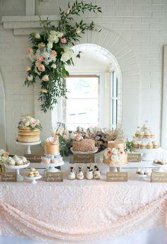 Romantic rustic dessert table. Baby shower. Ivory, gold, peach. Naked cake, gold cake, tiramisu jars, cake pops. Sequin tablecloth