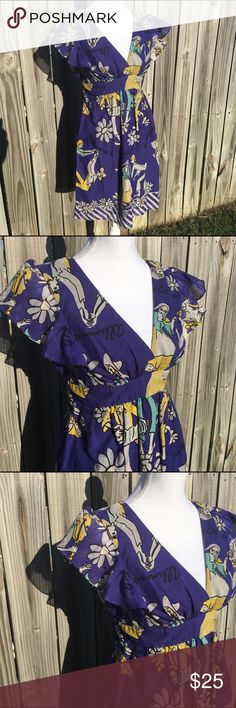 Voom joy Han vintage inspired dance print dress Great dress with unusual print of a vintage dance scene. Size medium. Measures 17 across at bust about 34 inches long. Ties at waist. Fully lined with a lightweight lining. 100% silk Voom by Joy Han Dresses