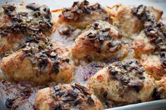 6 Chicken breasts  Coat chicken in  1 egg  Then dip in this mixture and place in a baking dish  1 C seasoned bread crumbs  1C Parmesan (b...