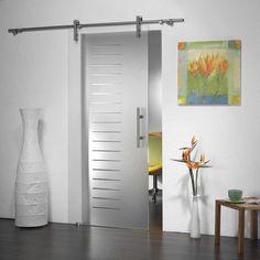modern glass barn style sliding door hardware for glass entrance door&partion&room divider (1ea) guide rail, 78.7 length, hollow stainless ste