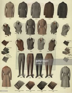 Men's fashions from the 1920s, including overcoats, vests, waistcoats, trousers and spats and details of cuffs. Chromolithograph from a catalog of male winter fashions from Bruner Woolens, 1920.
