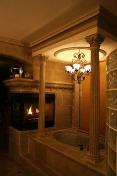 Bathroom Bathroom Fireplaces Design, Pictures, Remodel, Decor and Ideas - page 8