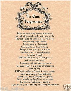 To Gain Forgiveness Spell Book of Shadows Page BOS Pages Witchcraft Parchment