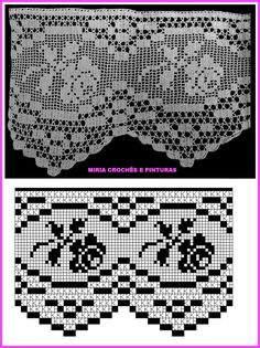 Filet Crochet Charts, Crochet Borders, Crochet Diagram, Crochet Motif, Crochet Doilies, Crochet Lace, Crochet Patterns, Thread Crochet, Love Crochet