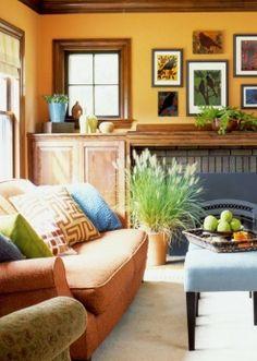 Decor: Orange, blue and gold living room