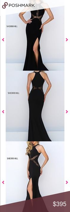 Selling less on merc! Sherri Hill homecoming dress SELLING FOR 315 ON THE APP MERCARI     Size 4  Stretchy material (100% polyester) Halter neck High neck  Black  Lace detailing  Never worn (didn't like it on me and didn't return In time)  New with box and tags  Leg slit  Very flattering Tight fitting  Body con  Very beautiful dress wish it looked good on me! Originally $400   Formal dress, homecoming dress, tolo dress, evening gown, promgirl, long dress, prom dress Sherri Hill Dresses Prom