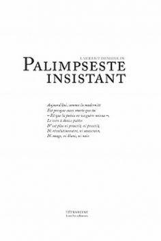 Palimpseste insistant / Laurent Demoulin ; illustration d'Antoine Demoulin dit Demant - Bruxelles : Tétras Lyre, imp. 2014