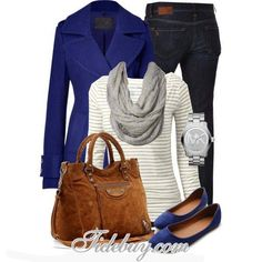Outfit #54 - Gray and White Striped Crochet Sweater - Blue Peacoat - Black Jeans - Blue Flats - Black Thick Scarf or Black Infinity Scarf